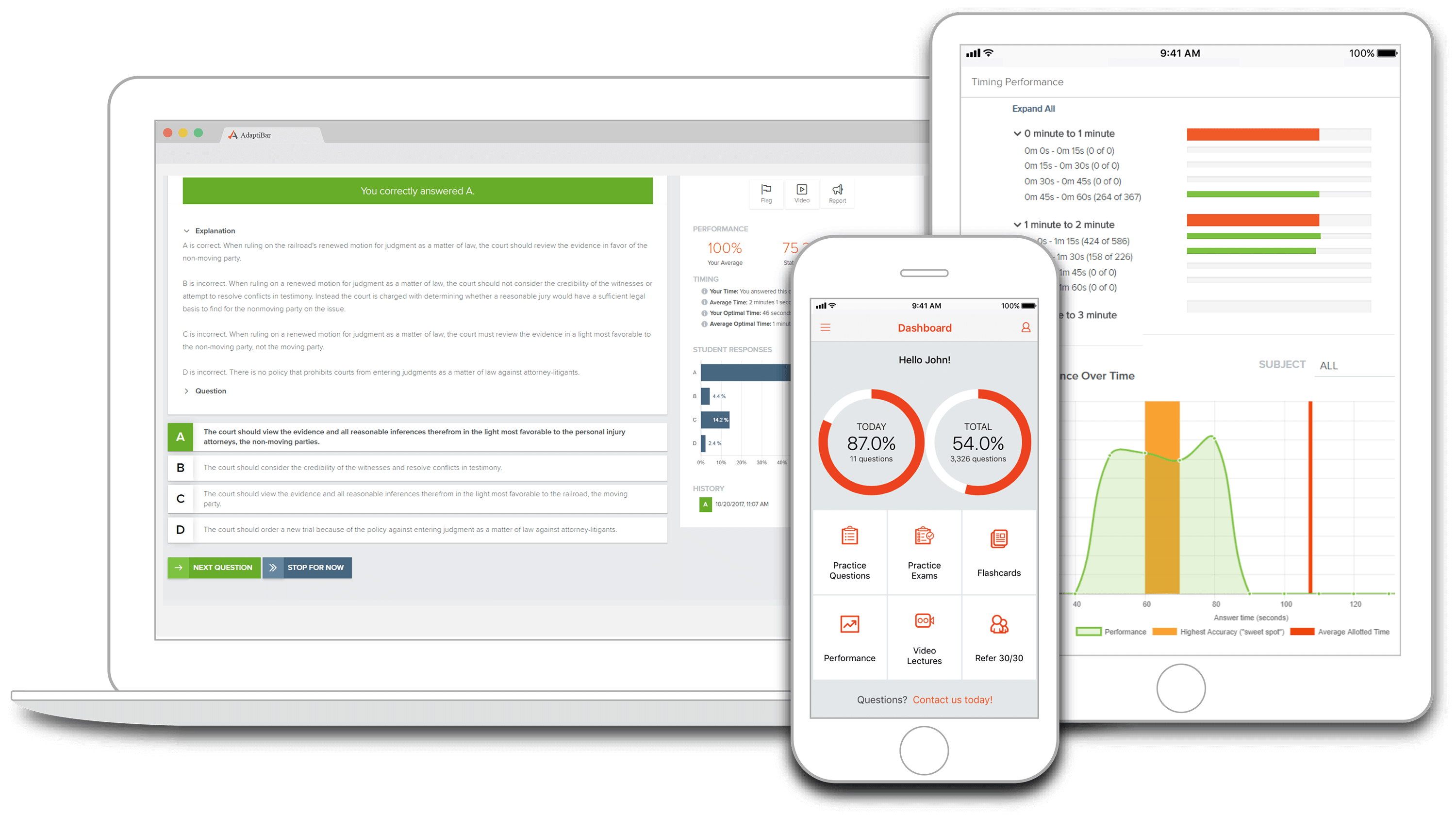 Image of AdaptiBar's multifaceted MBE preparation program on all devices.