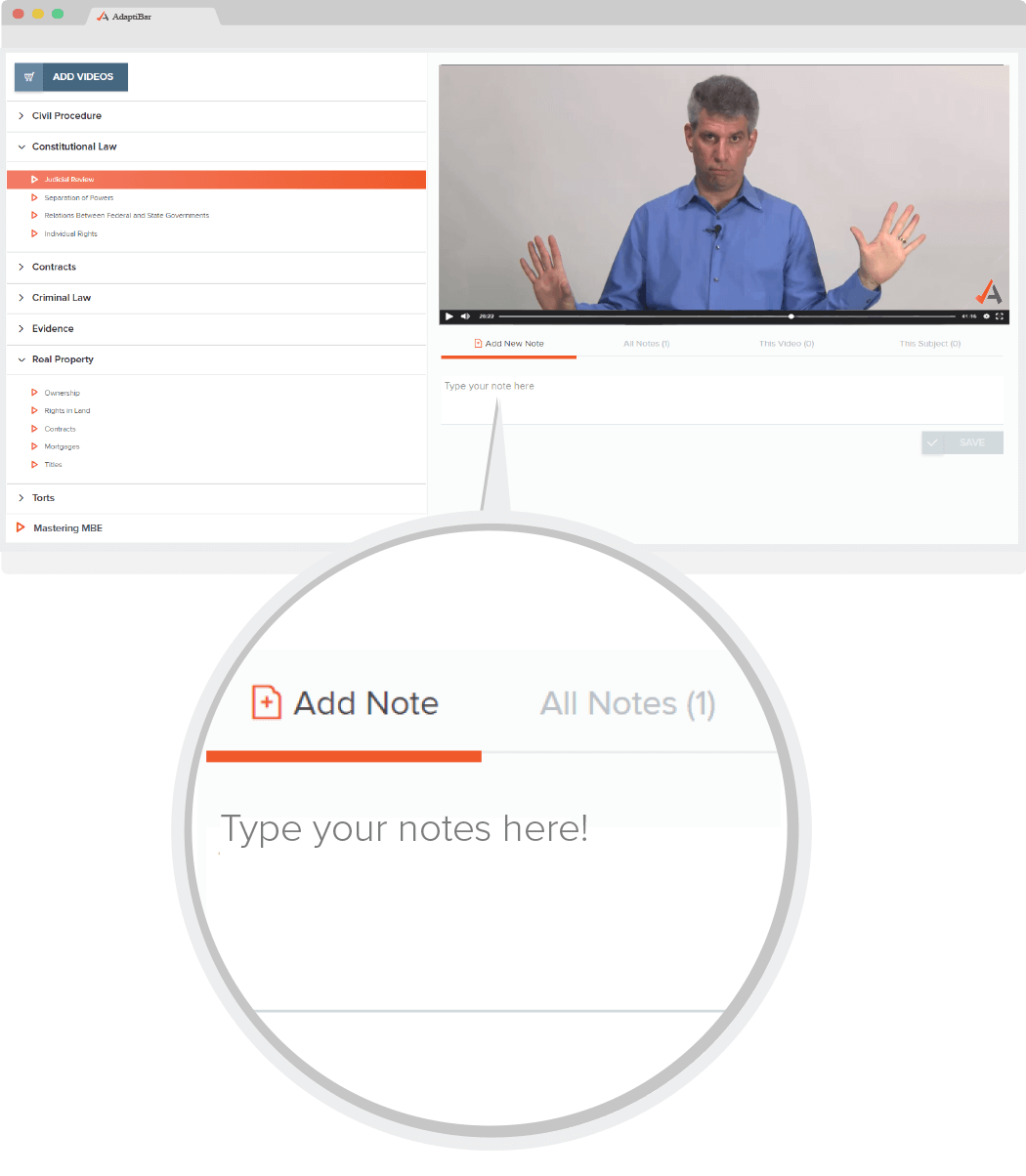 Image of AdaptiBar's integrated note taking platform for videos.
